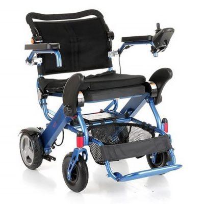 MH Foldalite Folding Electric Wheelchair Blue