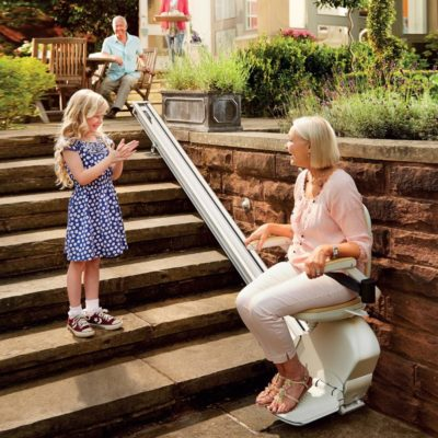 Brooks Outdoor Straight Stairlift Lifestyle Family