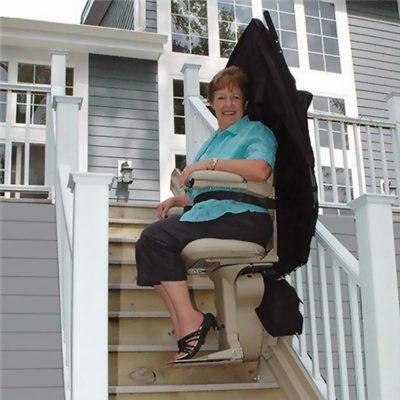 Bruno Elite Straight Outdoor Stairlift Lifestyle Woman