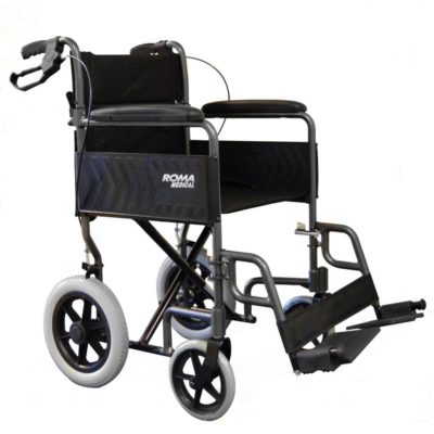 Roma 1235 Transit Wheelchair Grey Silver Front Main
