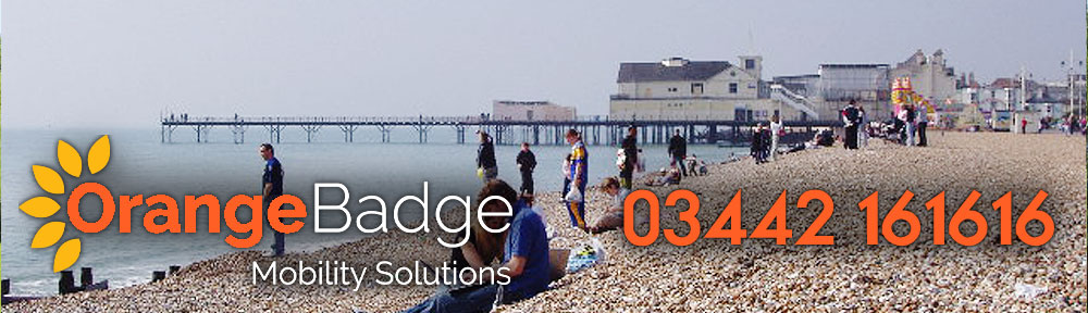 Picture of Bognor Regis Beach with Orange Badge logo and 03442161616 telephone number for Bognor Regis mobility page