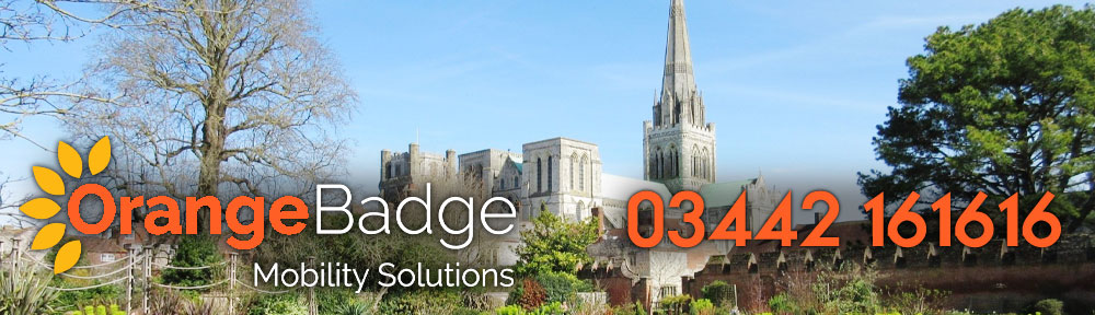 Picture of Chichester Cathedral with Orange Badge logo and 03442161616 telephone number for Chichester mobility page