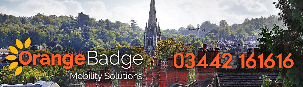 Picture of Dorking and the Church with Orange Badge logo and 03442161616 telephone number for Dorking mobility page
