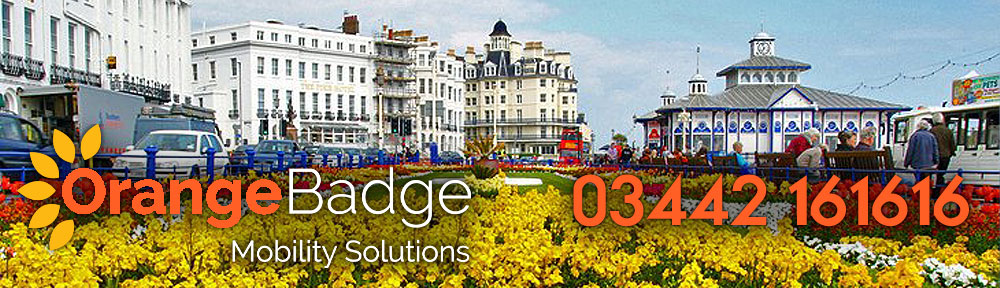 eastbourne seafront with flowers and orange badge logo with 03442 161616 number