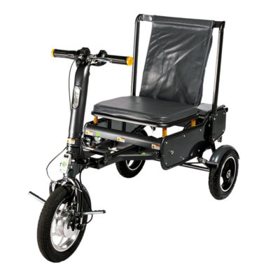 an efoldi mobility scooter fully unfolded and ready to ride