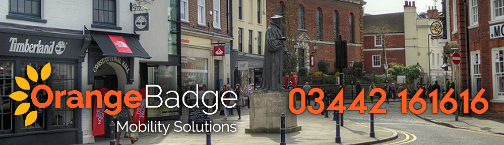 Picture of Guildford with Orange Badge logo and 03442161616 telephone number for Guildford mobility page