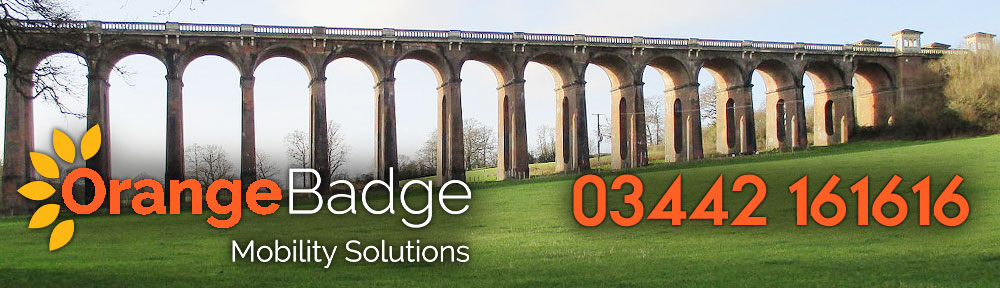 Picture of Haywards Heath Ouse Valley Viaduct with Orange Badge Mobility logo and 03442 161616 number