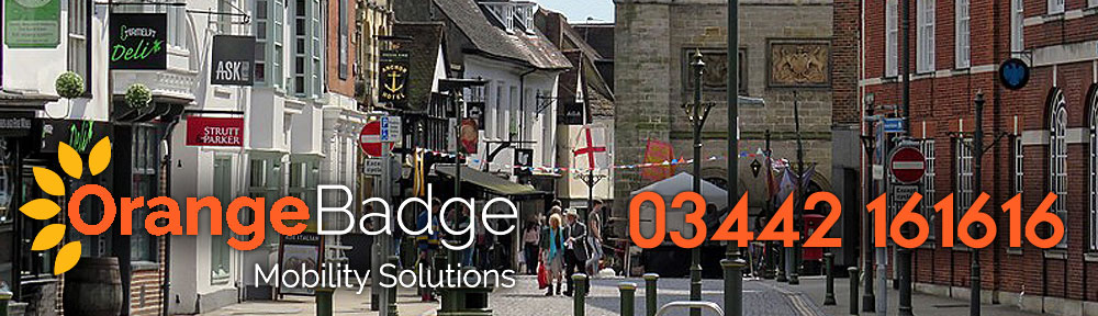 Picture of Horsham High Street with Orange Badge Mobility logo and 03442 161616 number