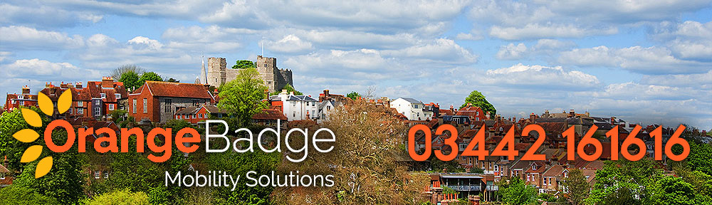 Picture of Lewes with Orange Badge logo and 03442161616 telephone number for Lewes mobility page