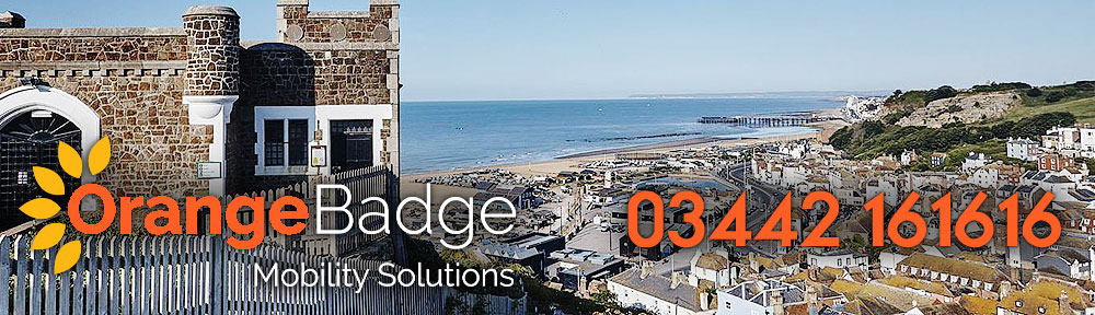Picture of Hastings with Orange Badge logo and 03442161616 telephone number for Hastings mobility page