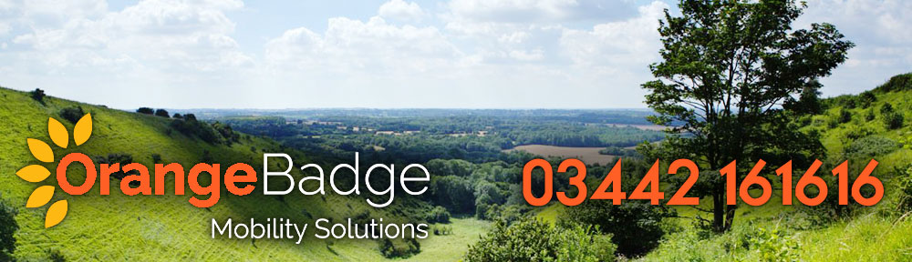 Picture of Kent with Orange Badge logo and 03442161616 telephone number for Kent mobility page