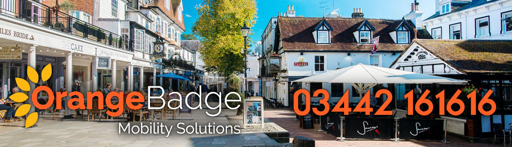 Picture of Tunbridge Wells Town Centre with Orange Badge logo and 03442161616 telephone number for Tunbridge Wells mobility page