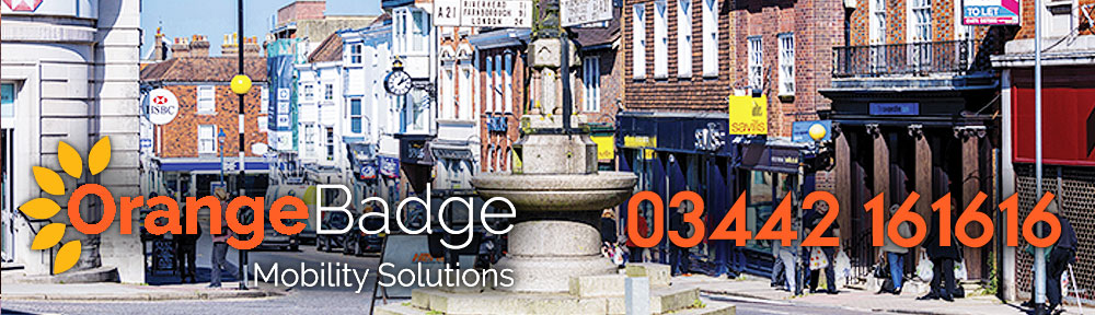 Picture of Sevenoaks Town Centre with Orange Badge logo and 03442161616 telephone number for Sevenoaks mobility page