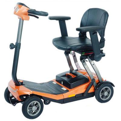 an orange smilie scooter