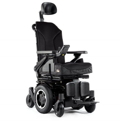 A front 3/4 view of a Quickie Q300M powerchair
