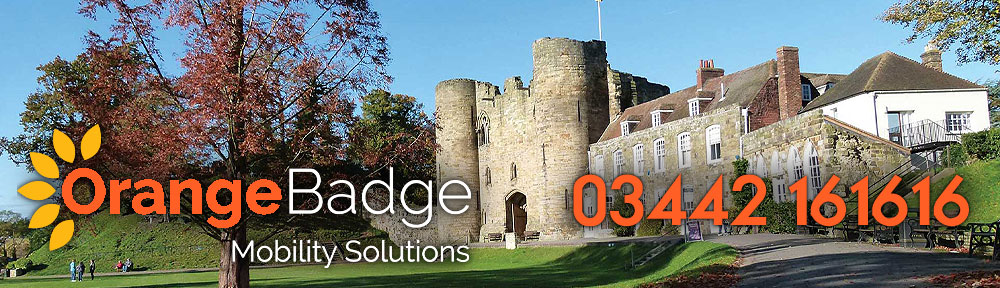 Picture of Tonbridge Castle with Orange Badge logo and 03442161616 telephone number for Tonbridge mobility page